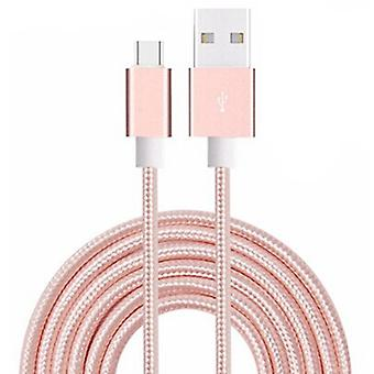 (Rose Gold) 1 Meter Micro USB Cable Nylon Braided for BLU Grand Max