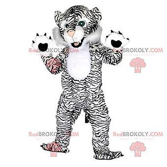Maskottchen REDBROKOLY.COM weißen und schwarzen Tigers, Katzenverkleidung, riesiger Tiger