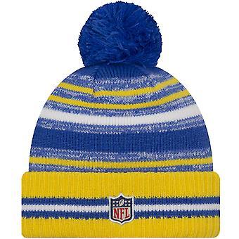 New Era LA Los Angeles Rams NFL Sideline 2021 Bonnet tricoté Bobble Chapeau Jaune