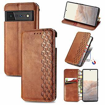 Case For Google Pixel 6 Pro Flip Cover Wallet Flip Cover Wallet Magnetic Protective Handytasche Case Etui - Marron