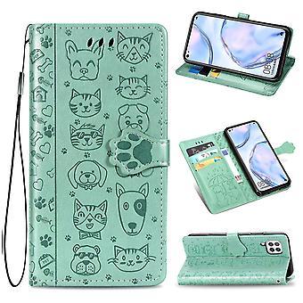Boîtier pour Huawei P40 Lite Flip Wallet Housse Housse Couverture chien de chat Motif - Vert