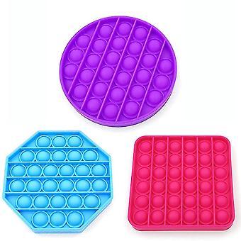 3st Silikon extrudering Fidget Leksaker Octagon Square Circle Push Pop Bubble Stress Relief Leksaker