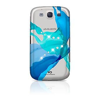 White Diamonds Case for Samsung Galaxy S3 i9300 (Blue Liquids)