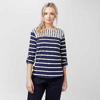 New Peter Storm Women's Anabelle Striped Long Sleeve T-Shirt Navy