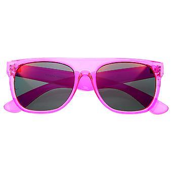 Super Transparent Crystal Neon Farbe Flash Mirror Objektiv FlatTop Horn Rimmed Sonnenbrille