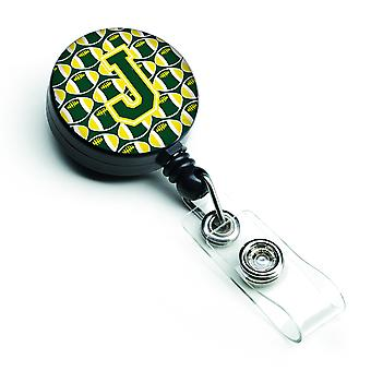 Letter J Football Green and Yellow Retractable Badge Reel