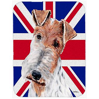 Wire Fox Terrier with English Union Jack British Flag Glass Cutting Board Large