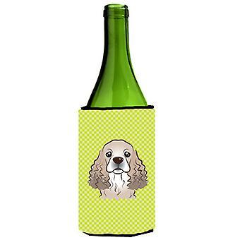 Dambord Lime groene Cocker Spaniel wijnfles drank isolator Hugger