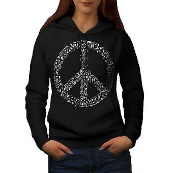 Peace Sign Music Rasta Women BlackHoodie | Wellcoda