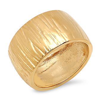 الشريط الفولاذ المقاوم للصدأ مطلي الذهب السيدات ك 18 مطروقة خاتم الفرقة