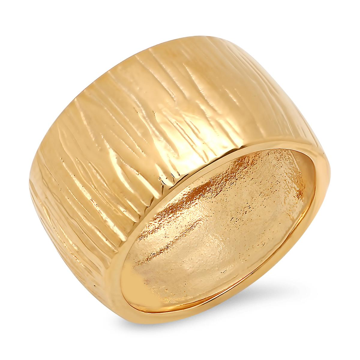 Ladies 18K Gold Plated Stainless Steel Stripe Hammered Band Ring