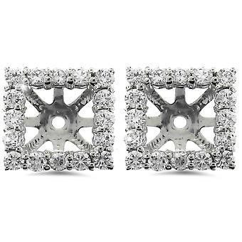 1 1/4ct prinsessa leikattu timantti halo korvakoru takit valkoinen kulta (5.5-6mm)
