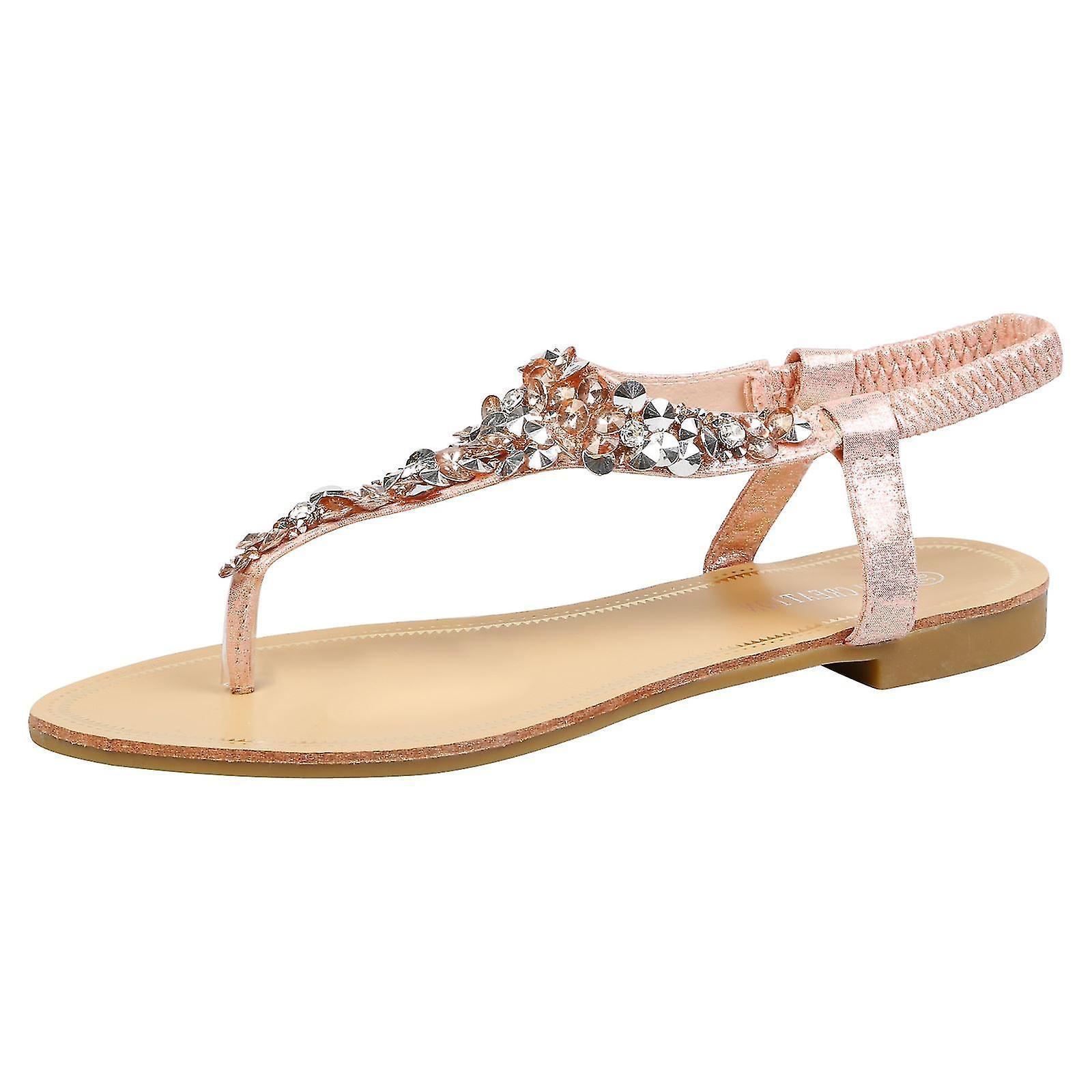 Veronica Womens Flats Diamante Elasticated Flip Flops Ladies Thong Sandals Shoes