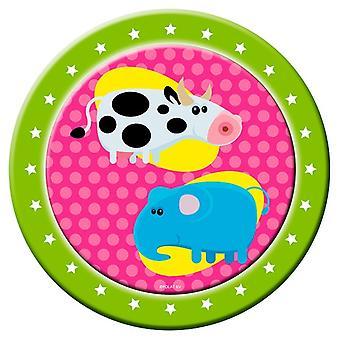 Fest plate plate plate dyr dyr partiet bursdag 23 cm diameter 8 stykker