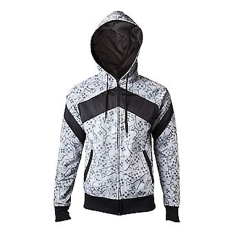 Sony Playstation Adult Male Controllers All-Over Sublimation Full Length Zipper Hoodie Extra Extra Large White/Black (HD270201SNY-2XL)