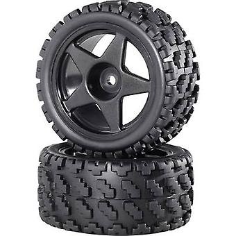 Reely 1:10 Buggy Complete wheels Rally Block (wide base) 5-spoke Black 2 pc(s)