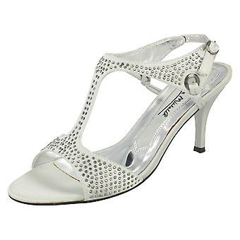 Ladies Anne Michelle Open Toe Kitten Heel Studded Sandal L3303
