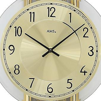 Wall clock with pendulum quartz design synthetic leather on wood rear wall
