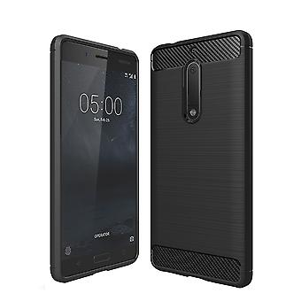 Nokia 5 TPU case carbone fibre optique brossé étui de protection noir