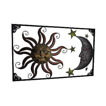 Tri-Color Metal Art Celestial Sun Moon and Stars Indoor Outdoor Wall Hanging