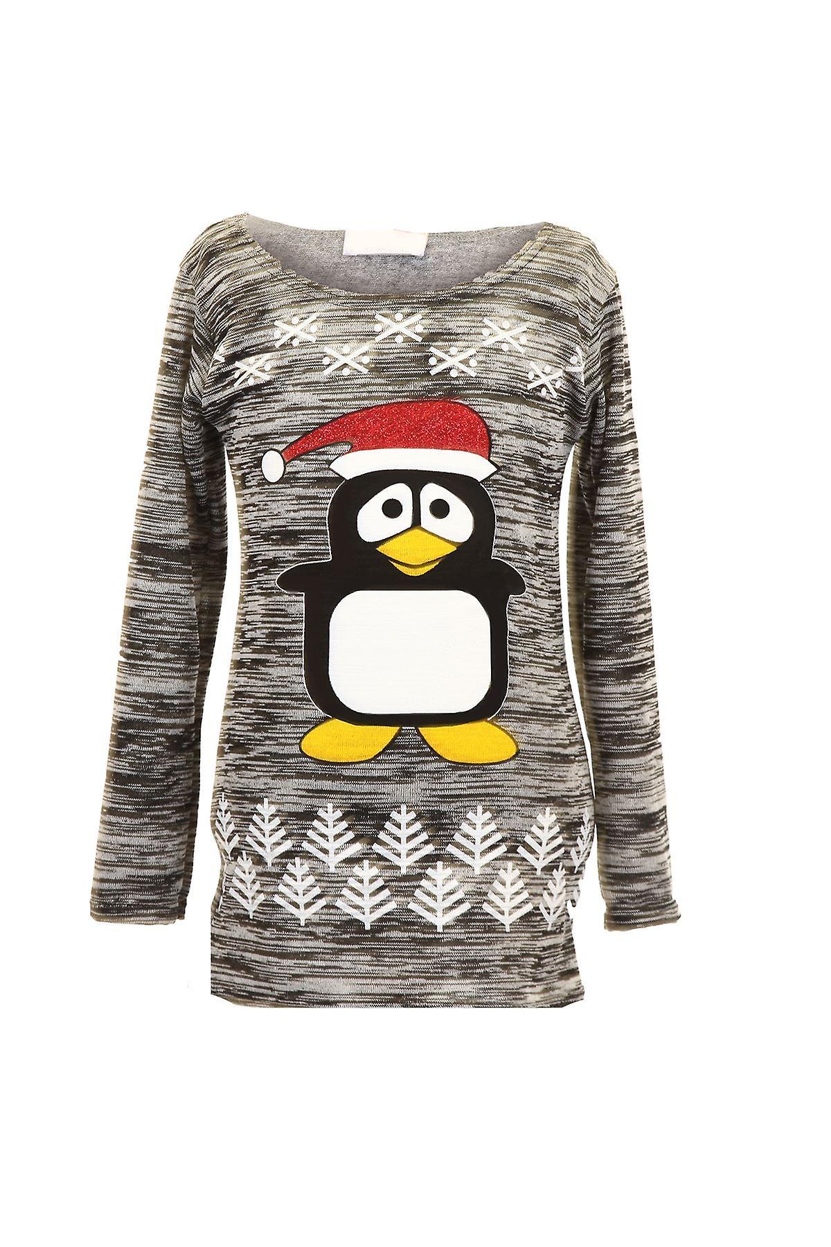 Children's Long Sleeve Christmas Penguin Sparkle Glitter Kid's Warm Jumper Top