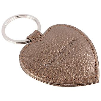Byron and Brown Roma Leather Small Heart Key Ring - Bronze