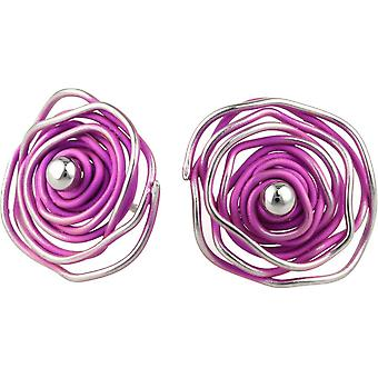 Ti2 Titanium Circular Chaos Stud Earrings - Candy Pink