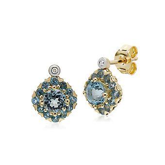 جيموندو ط 9 الأصفر الذهب الأزرق توباز جولة & الماس كتلة مربعة المرصع