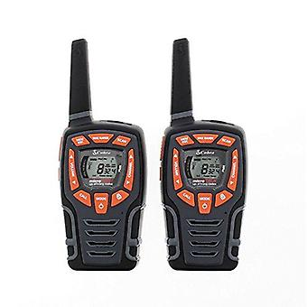 Cobra AM845 météo résistant talkie walkie avec fonction de sauvegarde de puissance lampe de poche LED intégrée, plus de 10 Km de portée et inclut des piles rechargeables (Pack de 2)-noir