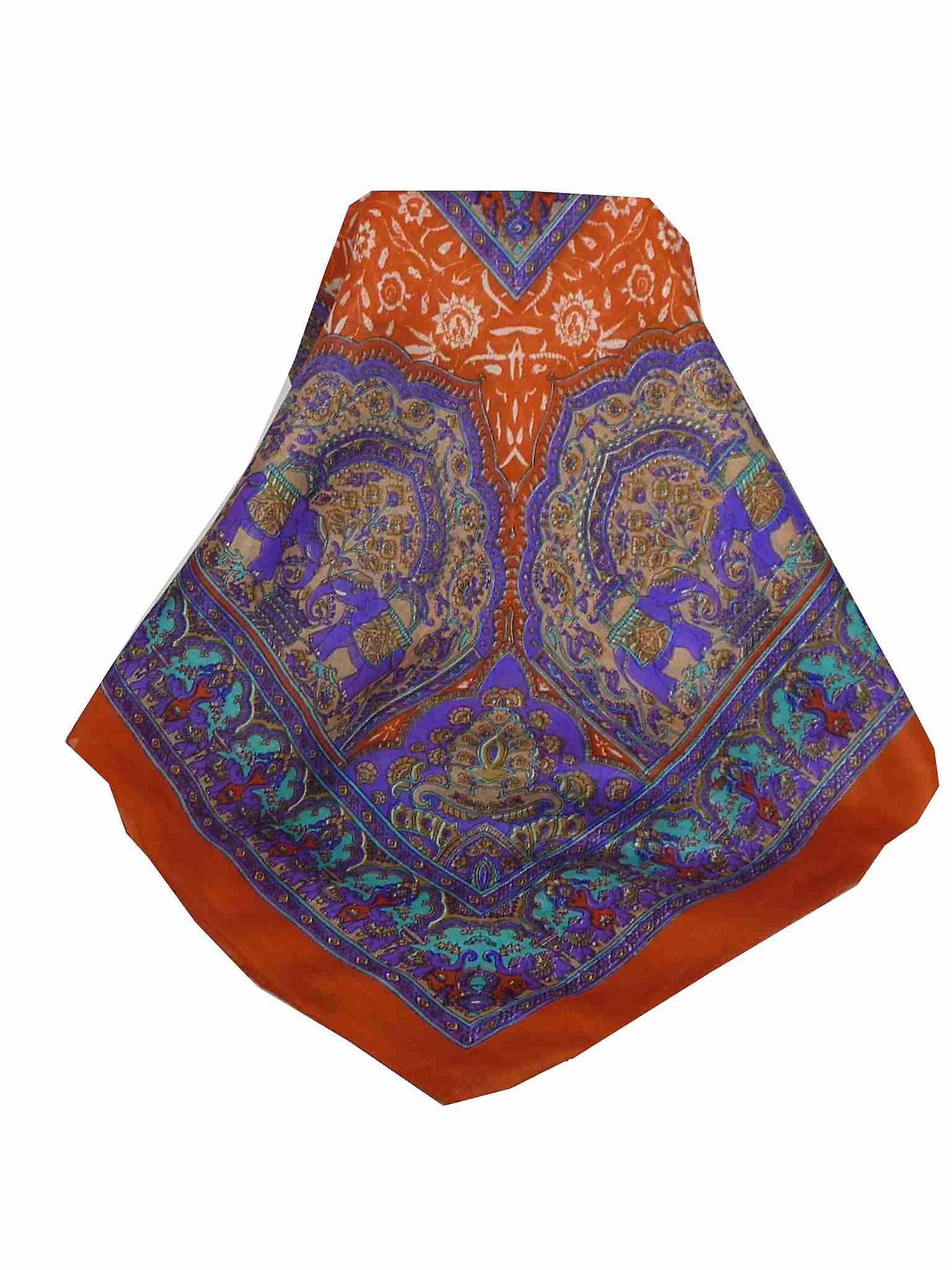 Mulberry Silk Traditional Square Scarf Ravali Terracotta & Indigo by Pashmina & Silk
