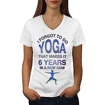 Yoga Excercise Women WhiteV-Neck T-shirt | Wellcoda