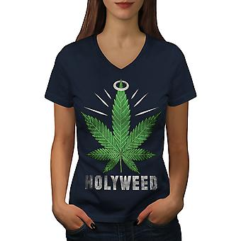 Weed Canabis Herb Women NavyV-Neck T-shirt | Wellcoda