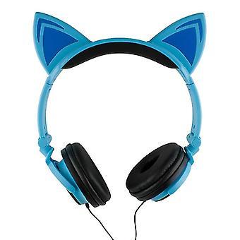 Auriculares LED con orejas de gato azul y negro