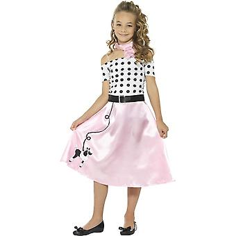 50s Poodle Girl Costume, Pink, with Dress, Neck Tie & Belt