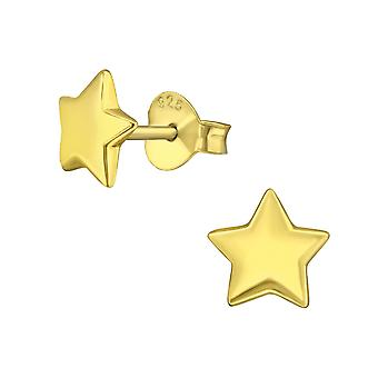 Star - 925 Sterling Silver Plain Ear Studs - W3168x
