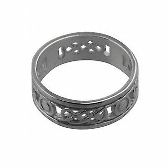 Серебряный 6 мм пронзили Селтик обручальное кольцо размер H