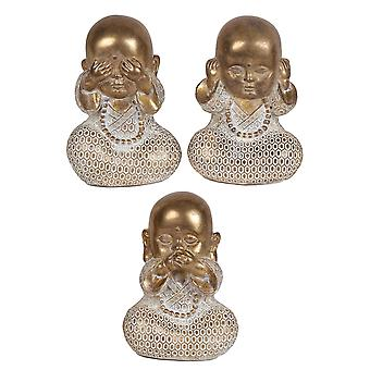 Set of 3 Monks Figurines, Gold