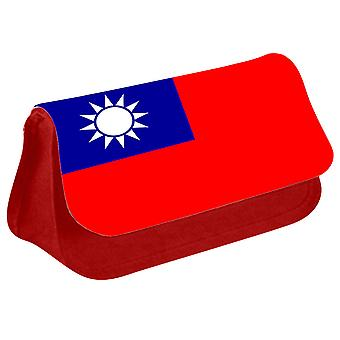 Taiwan Flag Printed Design Pencil Case for Stationary/Cosmetic - 0172 (Red) by i-Tronixs
