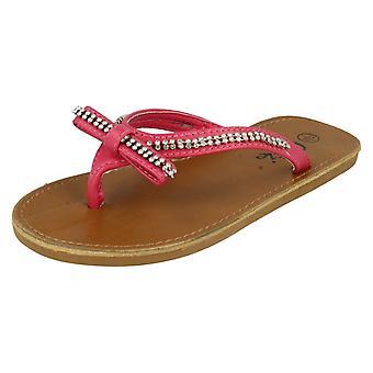 Girls Cutie Qt Toe Post Sandals H0041 Fuchsia UK 1