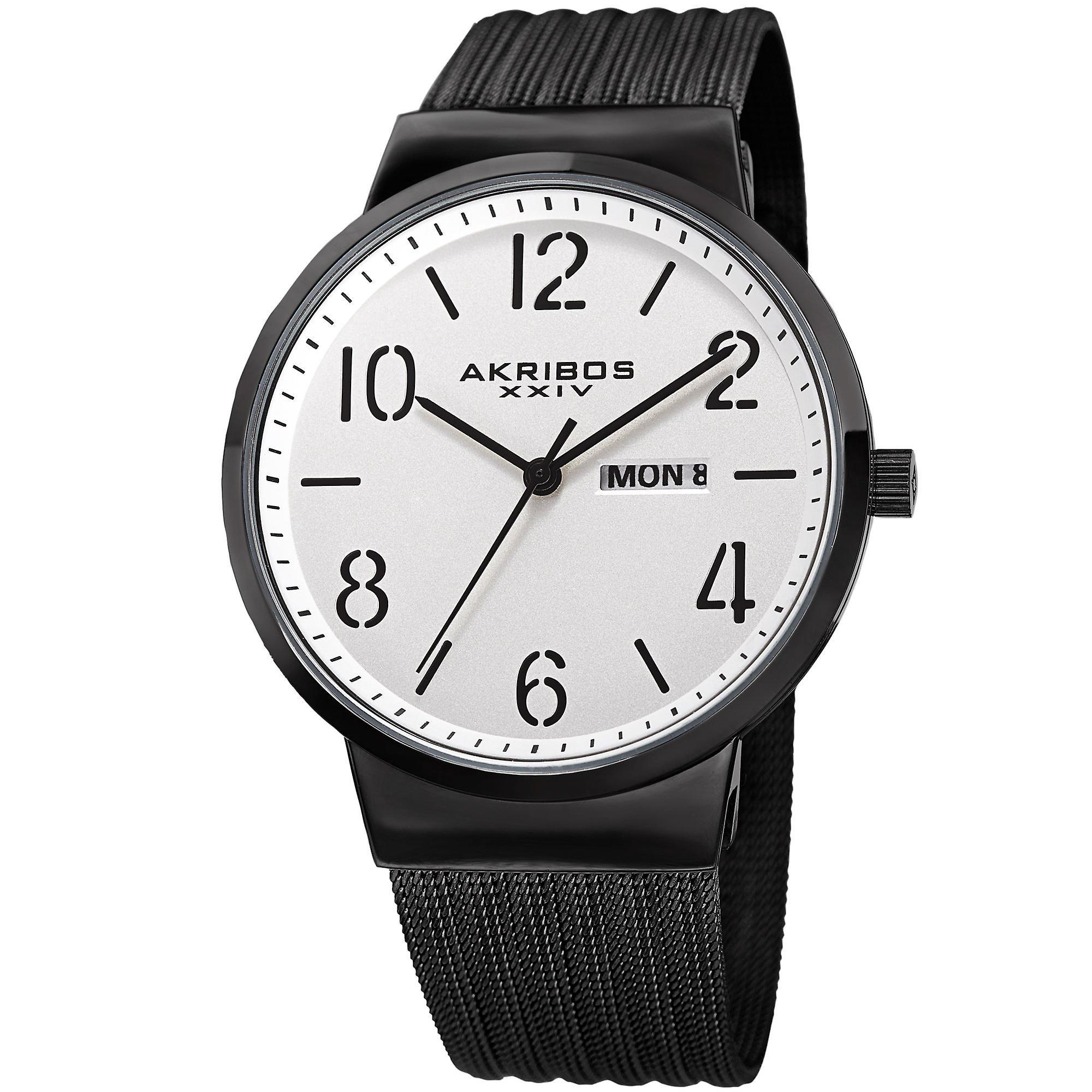 Akribos XXIV AK996BK Date Matte Dial Stainless Steel Mesh Strap Watch