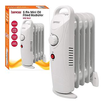 Benross 5 Fin Mini Oil Filled Radiator 500 Watt White