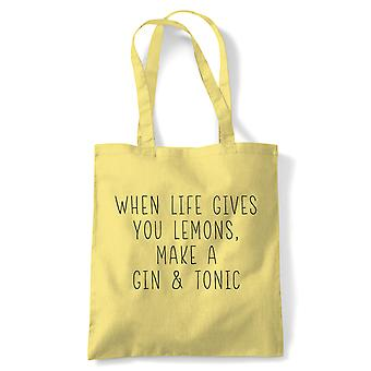 When Life Gives You Lemons, Tote - Reusable Shopping Canvas Bag Gift
