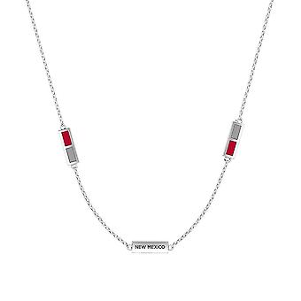 University Of New Mexico Sterling Silver Engraved Triple Station Necklace In Red and Grey