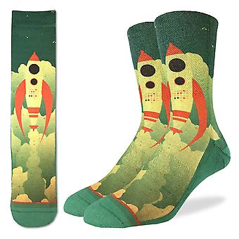 Socks - Good Luck Sock - Men's Active Fit - Rocket Ship (8-13) 4121