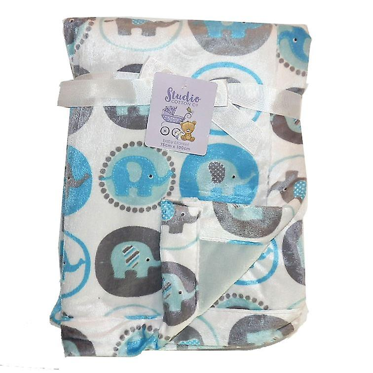 White Elephants Mink Reversible Fleece Lined Baby Blanket