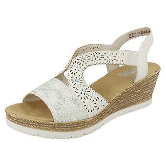 Damas sandalias de tacón de cuña Rieker 61916