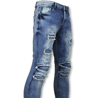 Trousers With Cracks - Biker Jeans Skinny - Blue