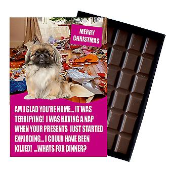 Pékin Funny Christmas Gift For Dog Lover Boxed Chocolate Greeting Card Xmas Présent