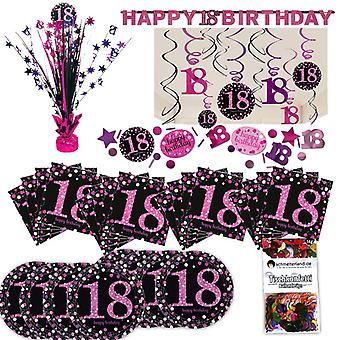 18th birthday pink glitter party set XL 40-teilig for 8 guests decoration party package