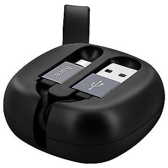 USB type C intrekbare laad-en synchronisatiekabel-Hoco-zwart